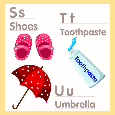 u s a: Illustrator of S T U with alphabet Shoes Toothpaste and Umbrella