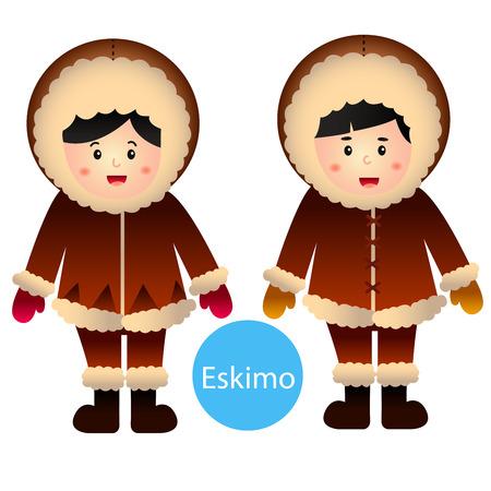 eskimo: illustrator of Eskimo Boy and Girl isolated on white background