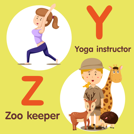 Illustrator of professional character yoga instructor and zoo keeper