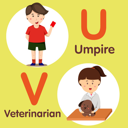 Illustrator of professional character umpire and veterinarian