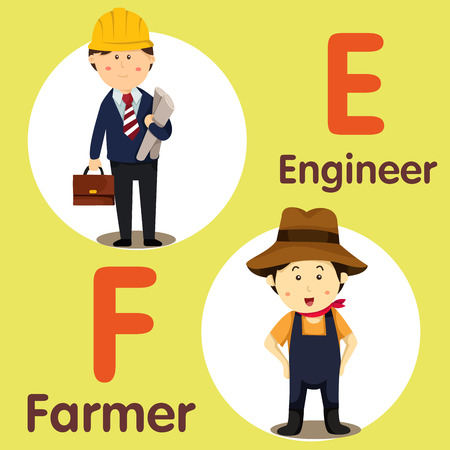 Illustrator of professional character Engineer and Farmer