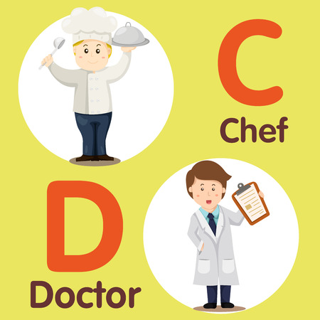 Illustrator of professional character Chef and Doctor Illustration