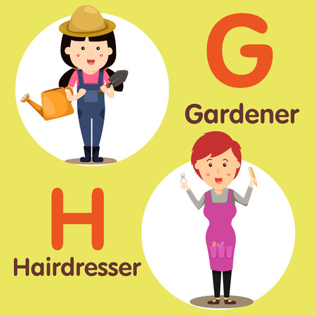 spelling book: Illustrator of professional character genrdener and hairdresser