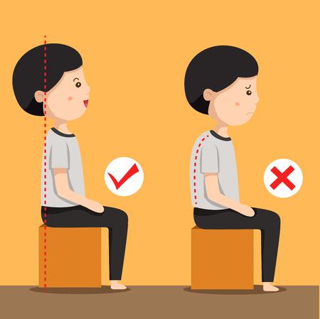Ilustrador de la posición de hombre sentado
