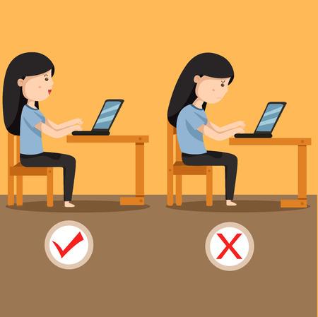 Illustrator of women sitting position two Ilustração