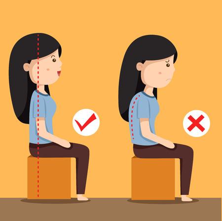 Illustrator of women sitting position Illustration