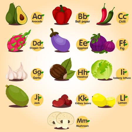 Illustrator of a-z fruit ana vegetable set one