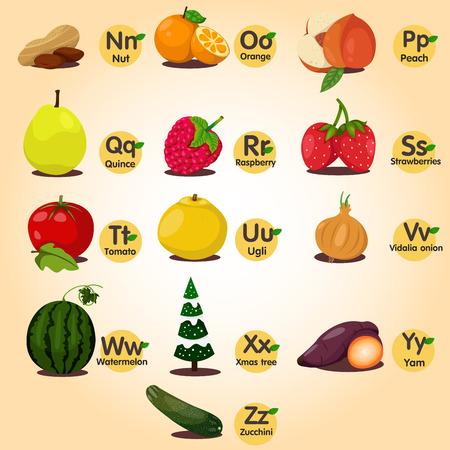 u  s  a: Illustrator of a-z fruit ana vegetable set two Illustration