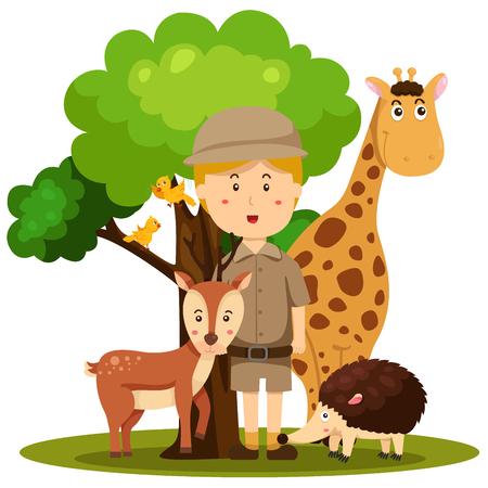 keeper: Illustrator of zoo keeper man