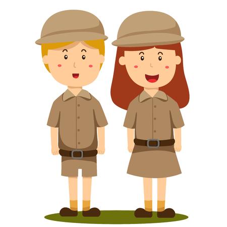 Illustrator of zoo keeper boy and girl Ilustração