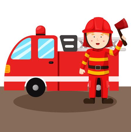 Ilustración de bombero y del coche de bomberos