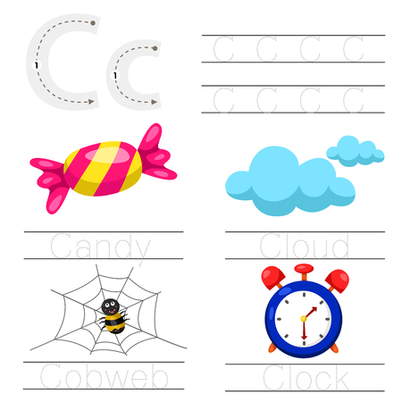 Illustrator van werkblad voor kinderen c lettertype Stock Illustratie