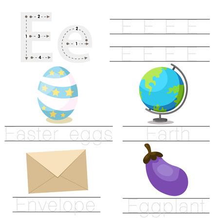 Illustrator of Worksheet for children e font