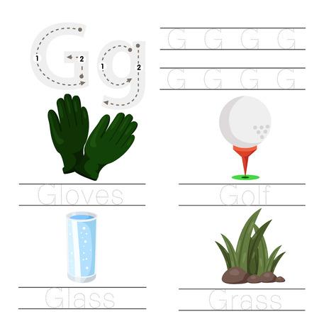 Illustrator of Worksheet for children g font