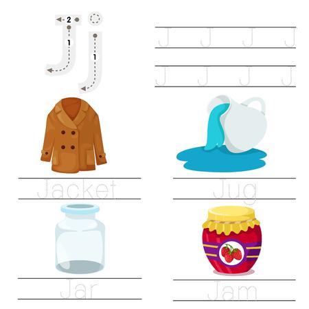 Illustrator of Worksheet for children j font Illustration