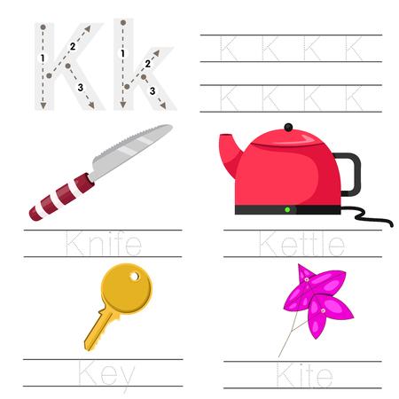 Illustrator of Worksheet for children k font
