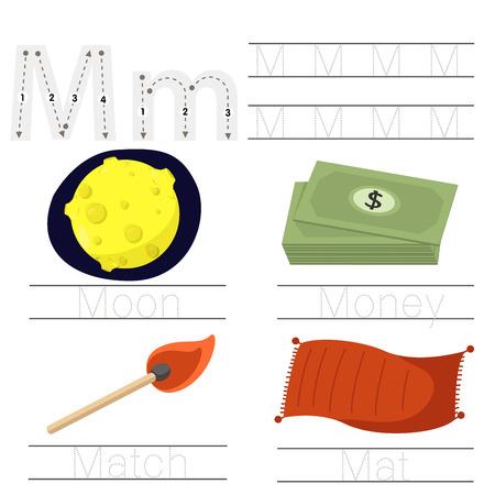 Illustrator of Worksheet for children M font Illustration