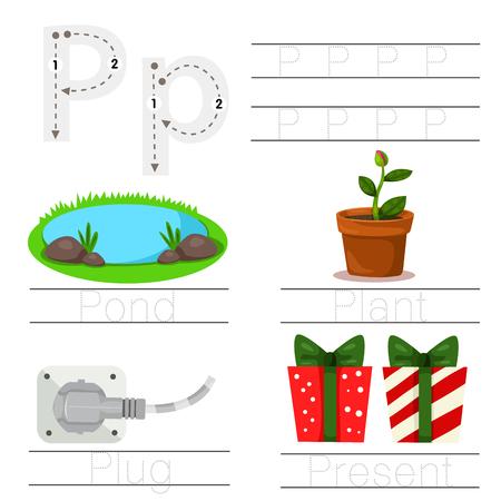 Illustrator of Worksheet for children P font Illustration