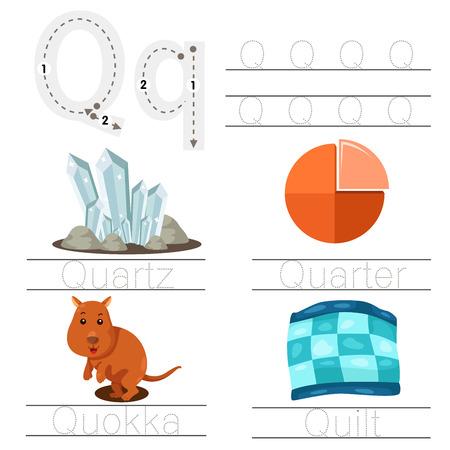 Illustration of Worksheet for children q font Illustration