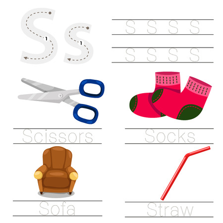 children s: Illustrator of Worksheet for children s font