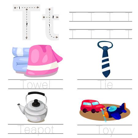literacy: Illustrator of Worksheet for children t font