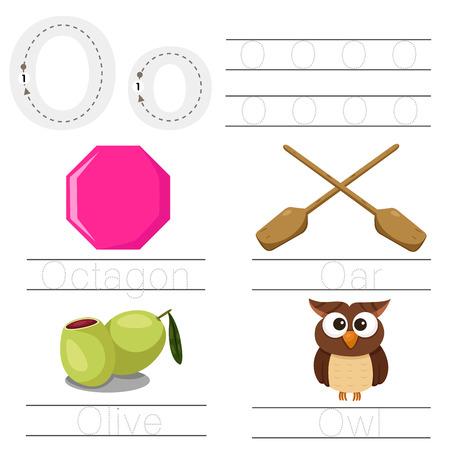 Illustrator of Worksheet for children O font Illustration