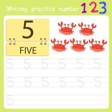 worksheet Writing practice number five Illustration