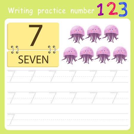 worksheet Writing practice number seven