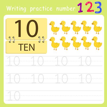 number ten: worksheet Writing practice number ten Illustration