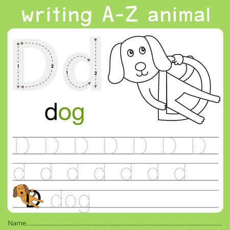 Illustrator of writing a-z animal d Illustration