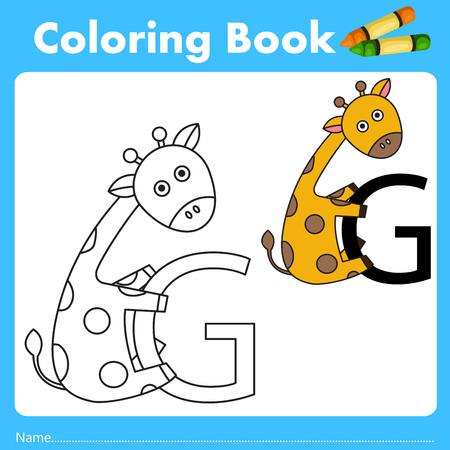 color book: Illustrator of color book with giraffe animal