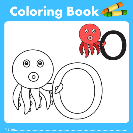 parting: Illustrator of color book with octopus animal