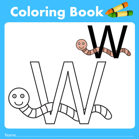 parting: Illustrator of color book with worm animal