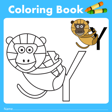 parting: Illustrator of color book with yellow baboon animal Illustration