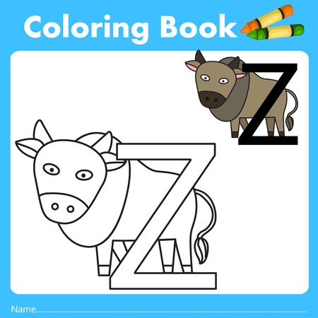 parting: Illustrator of color book with zebu animal