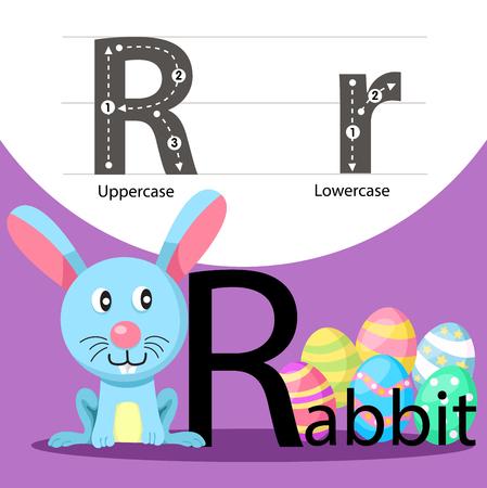Illustrator of rabbit with a font Illustration