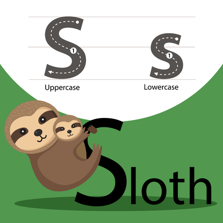 parting: Illustrator of sloth with a font Illustration