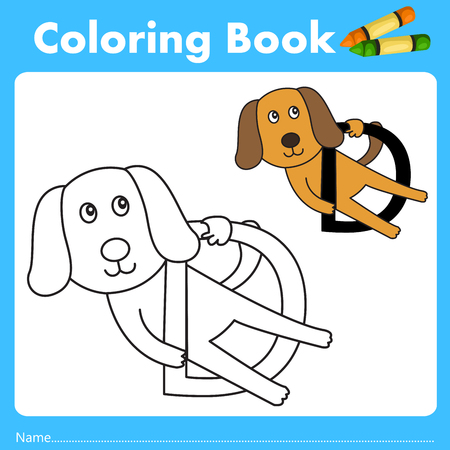 Illustrator of color book with dog animal