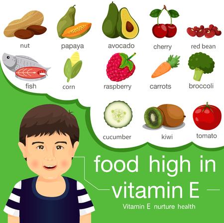 Illustrateur de nourriture riche en vitamine e