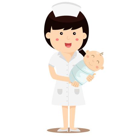 Illustrator of Nurse holding baby smile Ilustração
