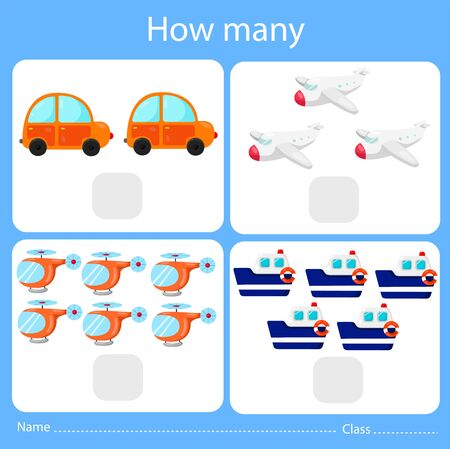 Illustrator of counting how many set, for kids