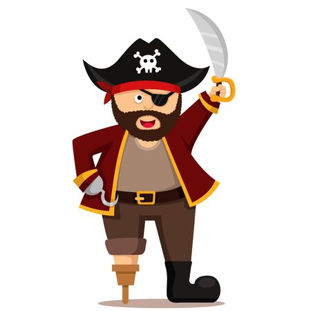 Illustrator of pirate, look funny for kid