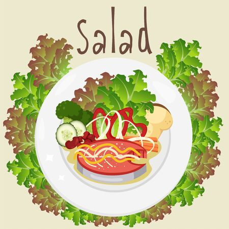 Illustrator of salad on dish Ilustração