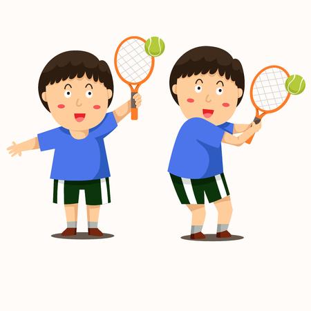 illustrator of boy play tennis Illustration
