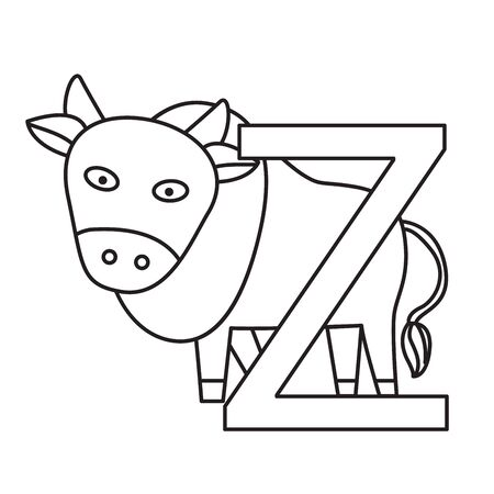 Illustrator of z zebu, illustration vector