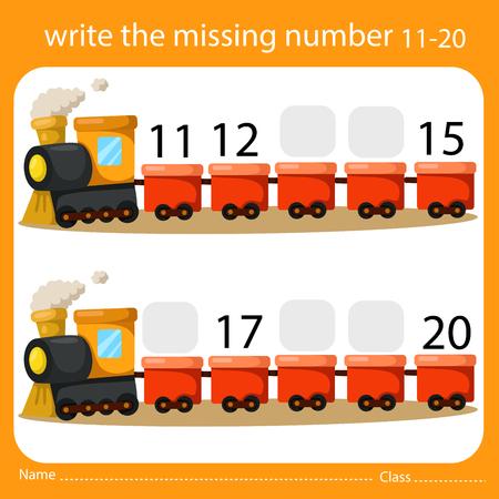 Illustrator Write the missing number 11-20