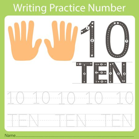 worksheet Writing practice number ten Illustration