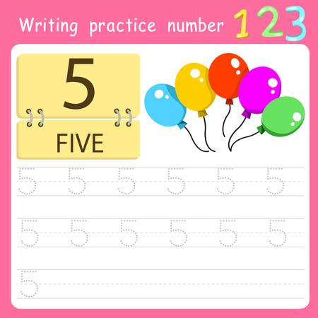 Worksheet Writing practice number five