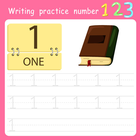 Worksheet Writing practice number one Illustration