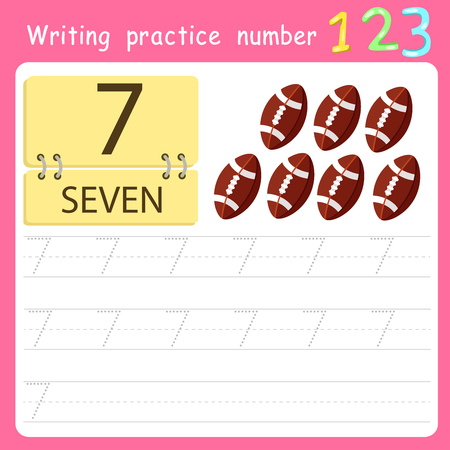Worksheet Writing practice number seven Illustration